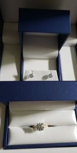 2.5ct lab created diamond solitaire & 2ct earrings